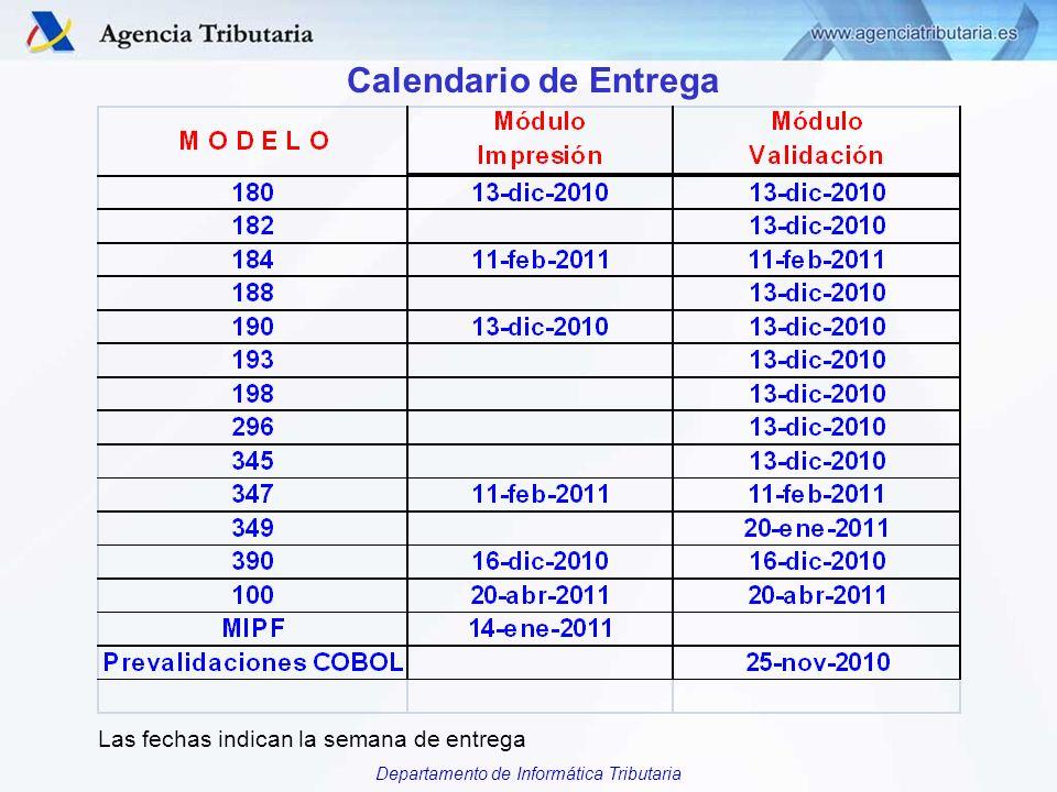 Departamento de Informática Tributaria Calendario de Entrega Las fechas indican la semana de entrega