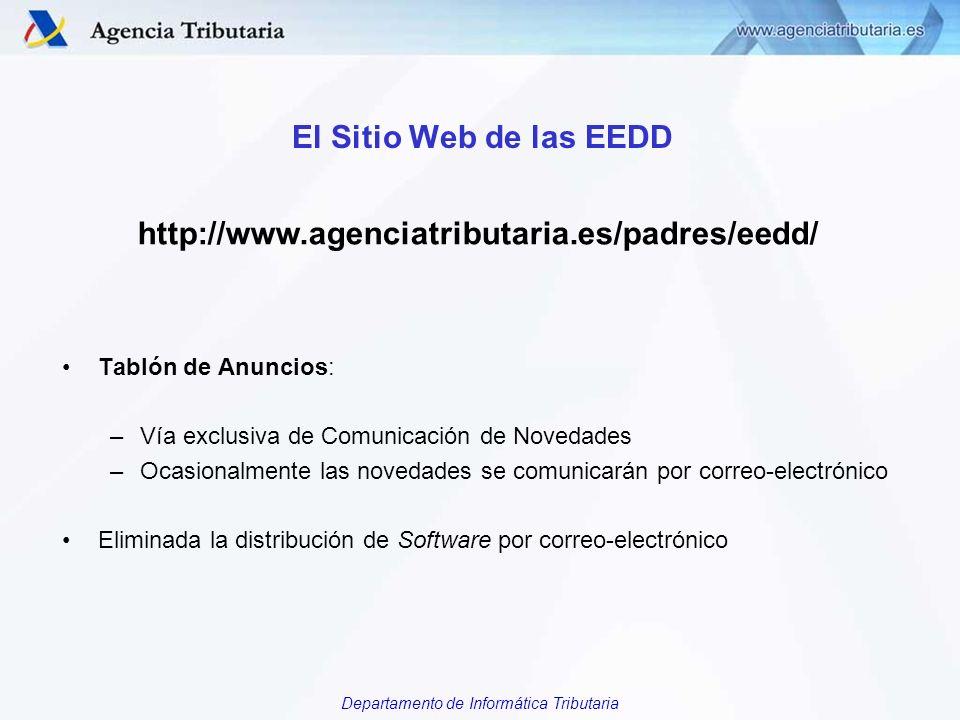 Departamento de Informática Tributaria El Sitio Web de las EEDD Tablón de Anuncios: –Vía exclusiva de Comunicación de Novedades –Ocasionalmente las no