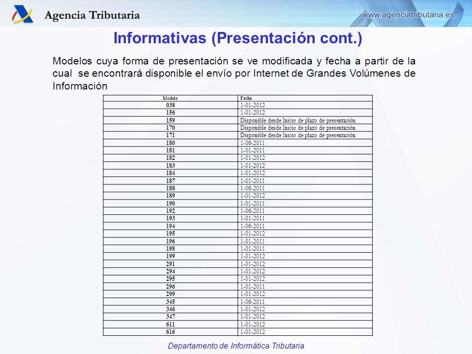 Departamento de Informática Tributaria Informativas (Presentación cont.) Modelos cuya forma de presentación se ve modificada y fecha a partir de la cu