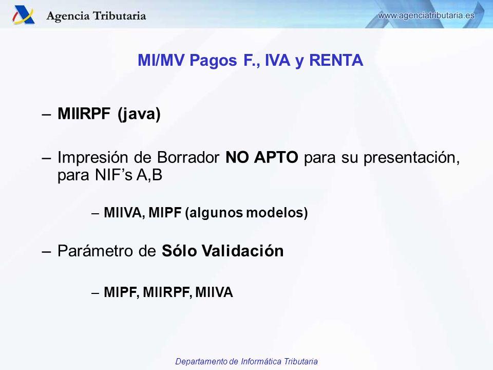 Departamento de Informática Tributaria MI/MV Pagos F., IVA y RENTA –MIIRPF (java) –Impresión de Borrador NO APTO para su presentación, para NIFs A,B –
