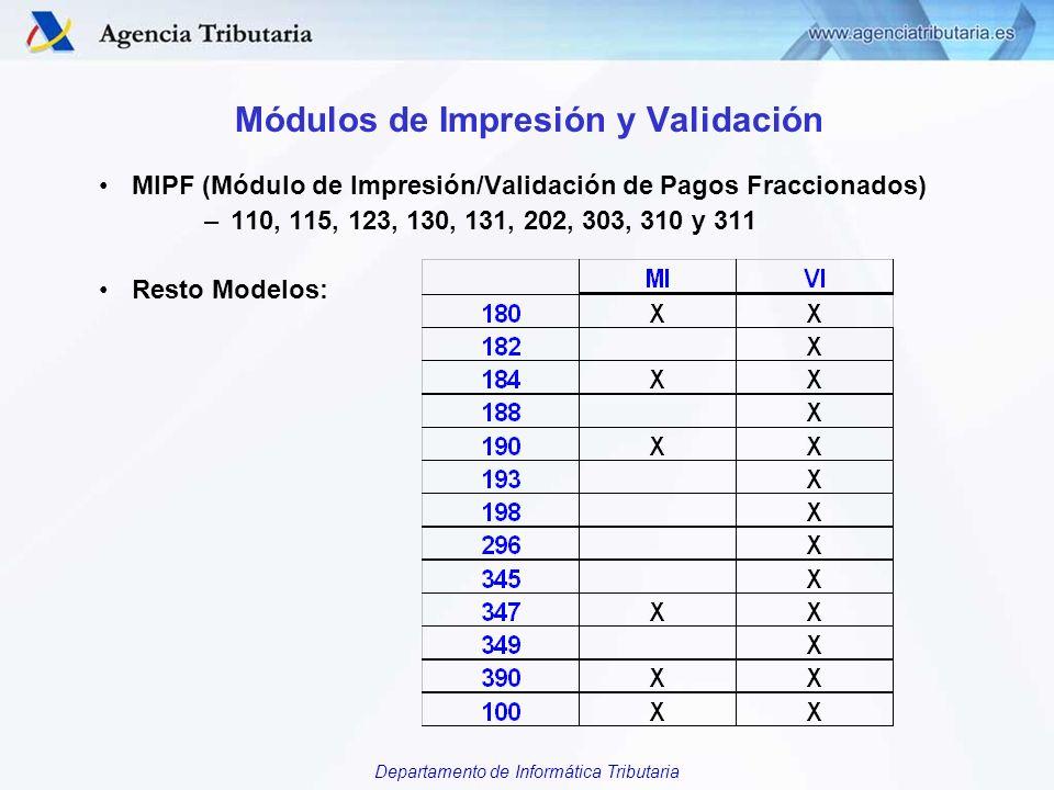 Departamento de Informática Tributaria Módulos de Impresión y Validación MIPF (Módulo de Impresión/Validación de Pagos Fraccionados) –110, 115, 123, 1