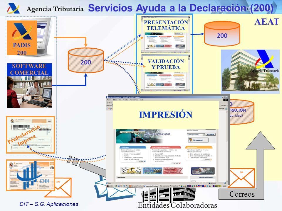 DIT – S.G. Aplicaciones SERVICIOS AEAT ESPECIFICACIONES 200 PADIS 200 SOFTWARE COMERCIAL 200 PREDECLARACIÓN (Dígitos Seguridad) Entidades Colaboradora