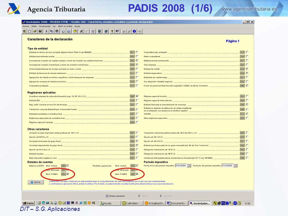 DIT – S.G. Aplicaciones PADIS 2008 (1/6)