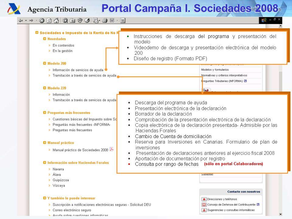 DIT – S.G. Aplicaciones Portal Campaña I. Sociedades 2008