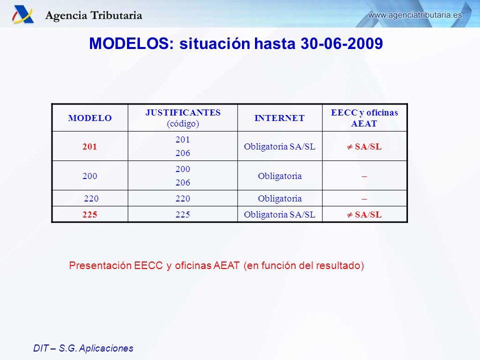 DIT – S.G. Aplicaciones MODELOS: situación hasta 30-06-2009 MODELO JUSTIFICANTES (código) INTERNET EECC y oficinas AEAT 201 206 Obligatoria SA/SL SA/S