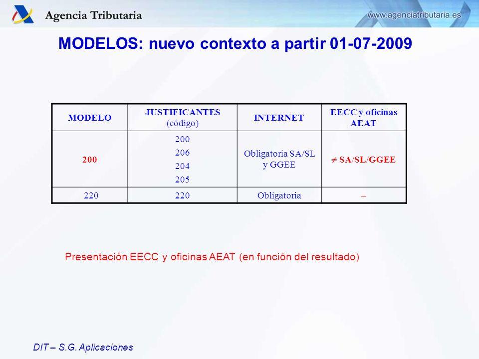 DIT – S.G. Aplicaciones MODELOS: nuevo contexto a partir 01-07-2009 MODELO JUSTIFICANTES (código) INTERNET EECC y oficinas AEAT 200 206 204 205 Obliga