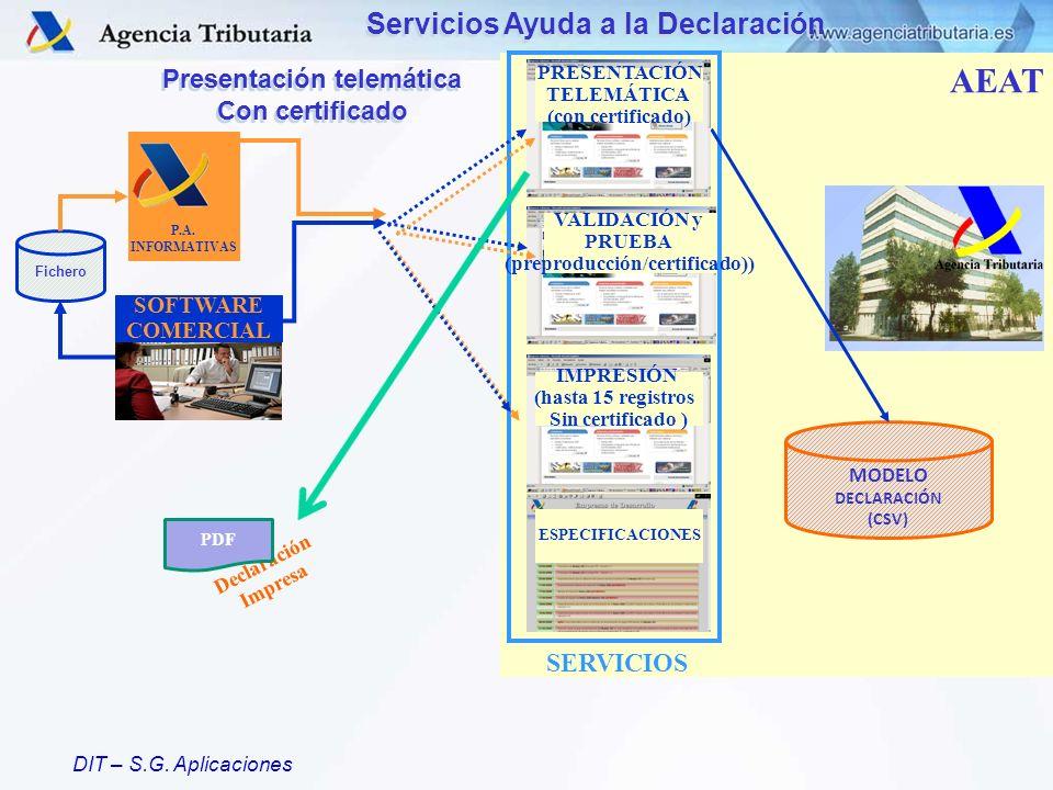 DIT – S.G. Aplicaciones Servicios Ayuda a la Declaración SERVICIOS AEAT ESPECIFICACIONES P.A. INFORMATIVAS SOFTWARE COMERCIAL MODELO DECLARACIÓN (CSV)