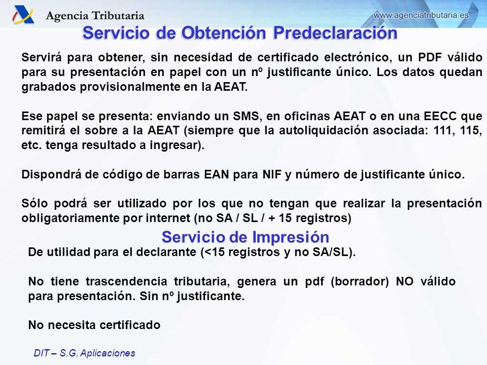 DIT – S.G. Aplicaciones Servirá para obtener, sin necesidad de certificado electrónico, un PDF válido para su presentación en papel con un nº justific
