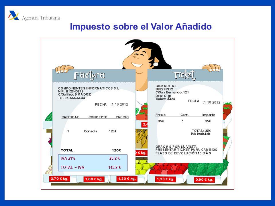 Impuesto sobre el Valor Añadido IVA 21% 25,2 TOTAL + IVA 145,2 :1-10-2012