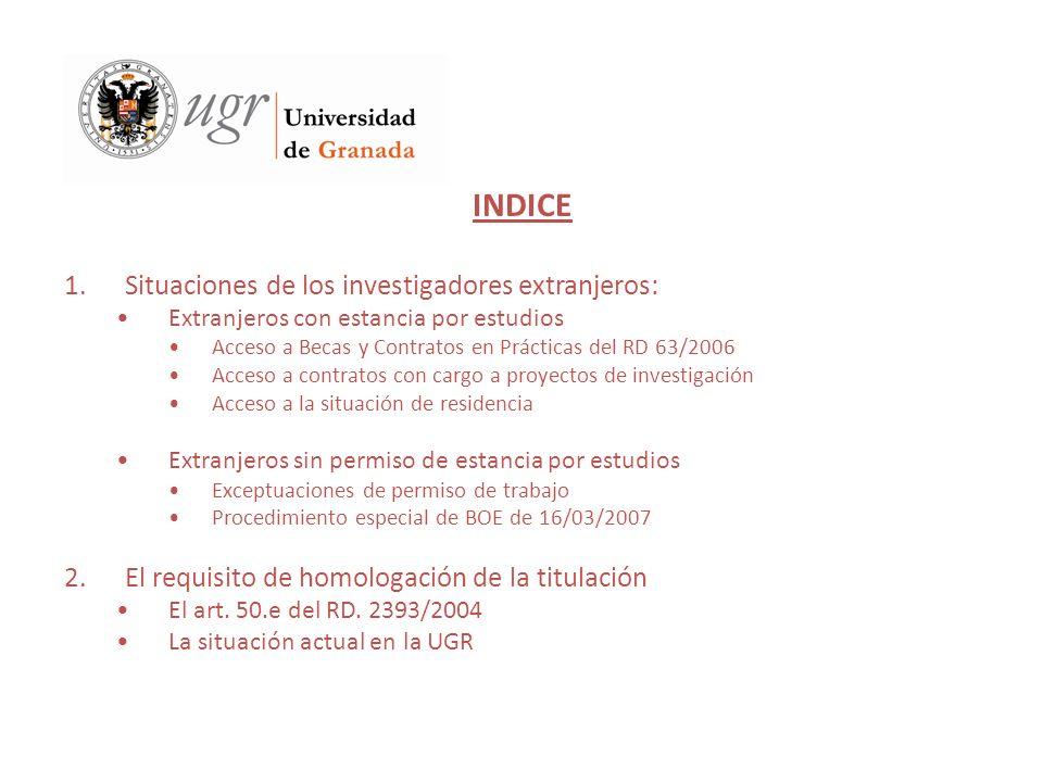 INDICE 1.Situaciones de los investigadores extranjeros: Extranjeros con estancia por estudios Acceso a Becas y Contratos en Prácticas del RD 63/2006 A