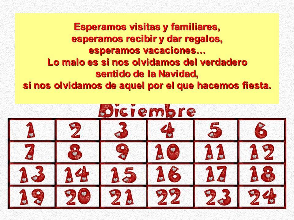 Esperamos visitas y familiares, esperamos recibir y dar regalos, esperamos vacaciones… Lo malo es si nos olvidamos del verdadero sentido de la Navidad, si nos olvidamos de aquel por el que hacemos fiesta.