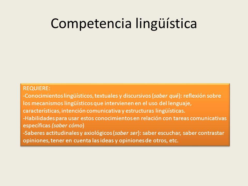 Competencia lingüística REQUIERE: -Conocimientos lingüísticos, textuales y discursivos (saber qué): reflexión sobre los mecanismos lingüísticos que in
