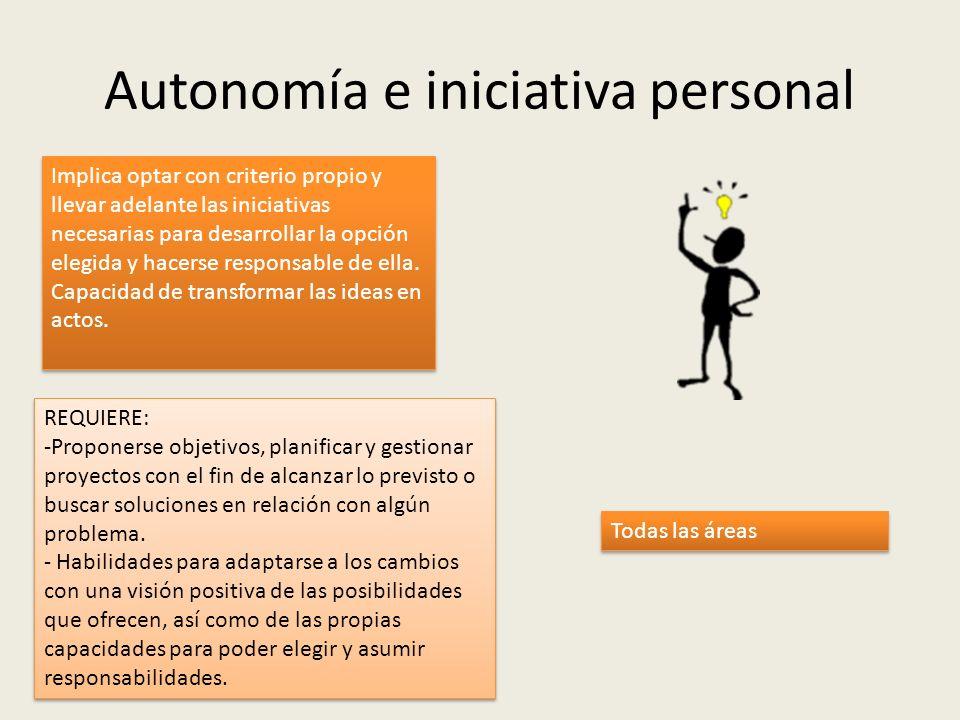 Autonomía e iniciativa personal Implica optar con criterio propio y llevar adelante las iniciativas necesarias para desarrollar la opción elegida y ha