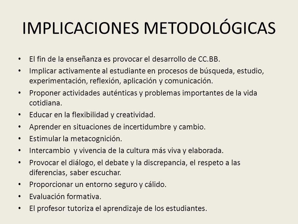 IMPLICACIONES METODOLÓGICAS El fin de la enseñanza es provocar el desarrollo de CC.BB. Implicar activamente al estudiante en procesos de búsqueda, est