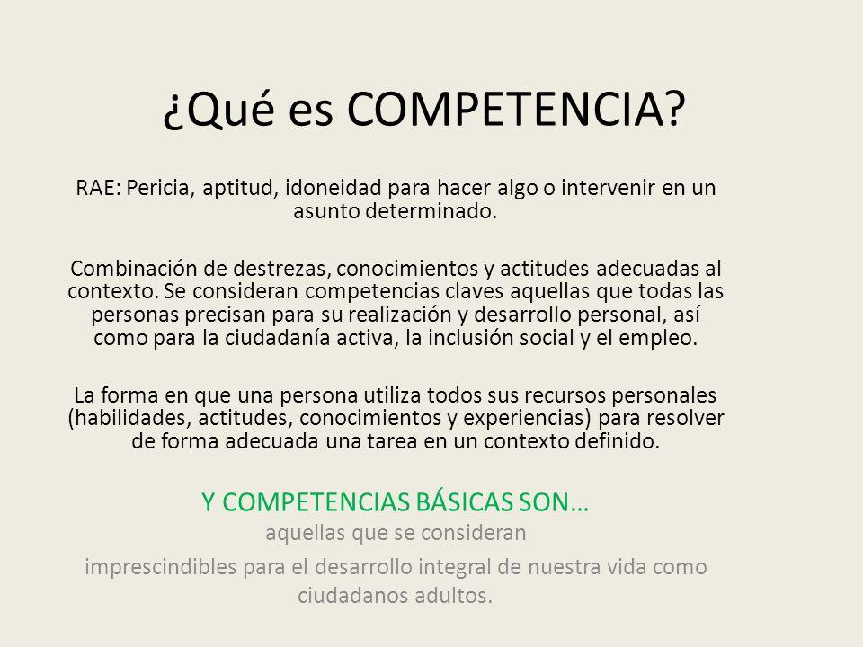 ¿Qué es COMPETENCIA? RAE: Pericia, aptitud, idoneidad para hacer algo o intervenir en un asunto determinado. Combinación de destrezas, conocimientos y