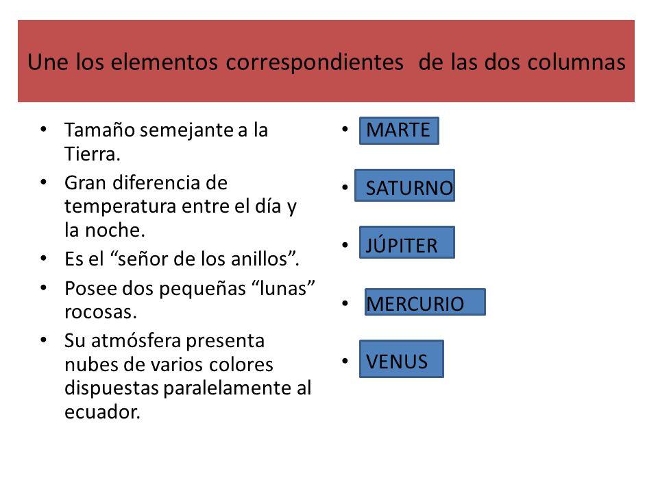 Une los elementos correspondientes de las dos columnas Tamaño semejante a la Tierra. Gran diferencia de temperatura entre el día y la noche. Es el señ