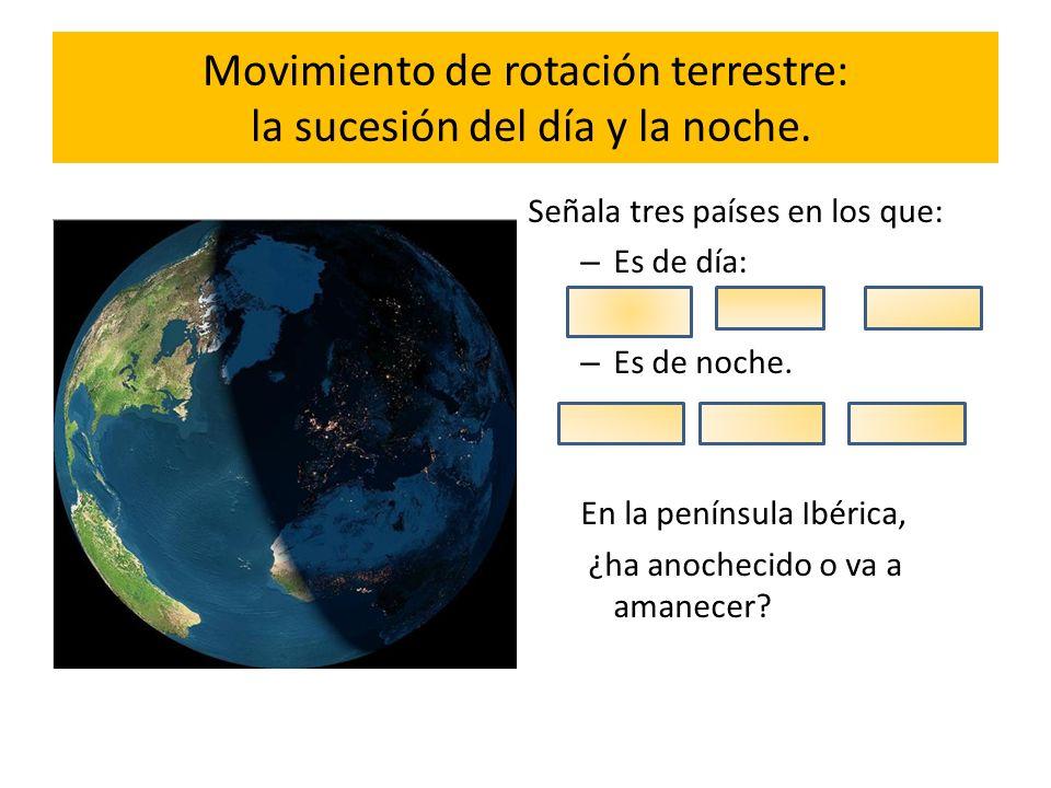 Movimiento de rotación terrestre: la sucesión del día y la noche. Señala tres países en los que: – Es de día: – Es de noche. En la península Ibérica,
