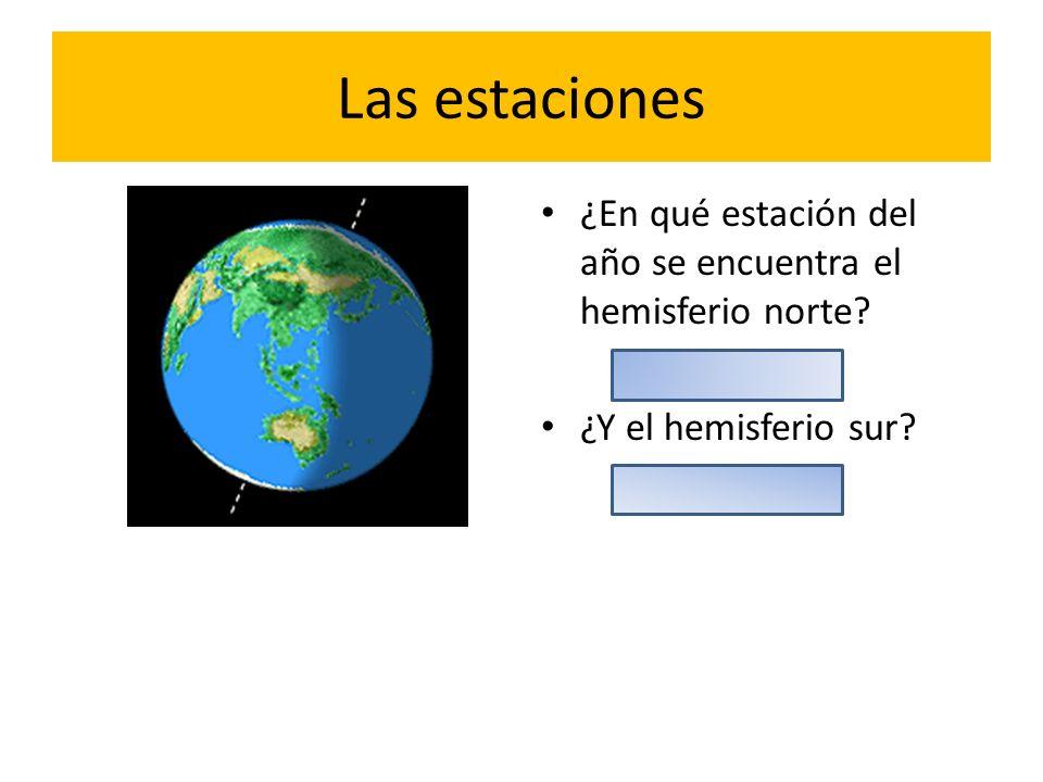 Las estaciones ¿En qué estación del año se encuentra el hemisferio norte? ¿Y el hemisferio sur?