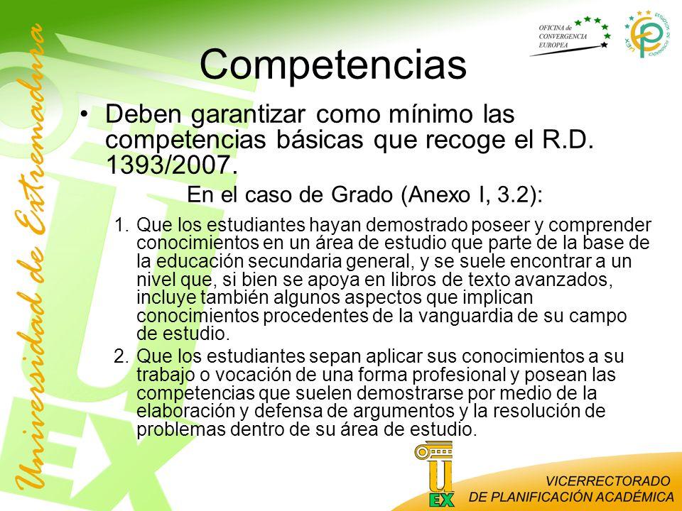 Competencias Deben garantizar como mínimo las competencias básicas que recoge el R.D. 1393/2007. En el caso de Grado (Anexo I, 3.2): 1.Que los estudia