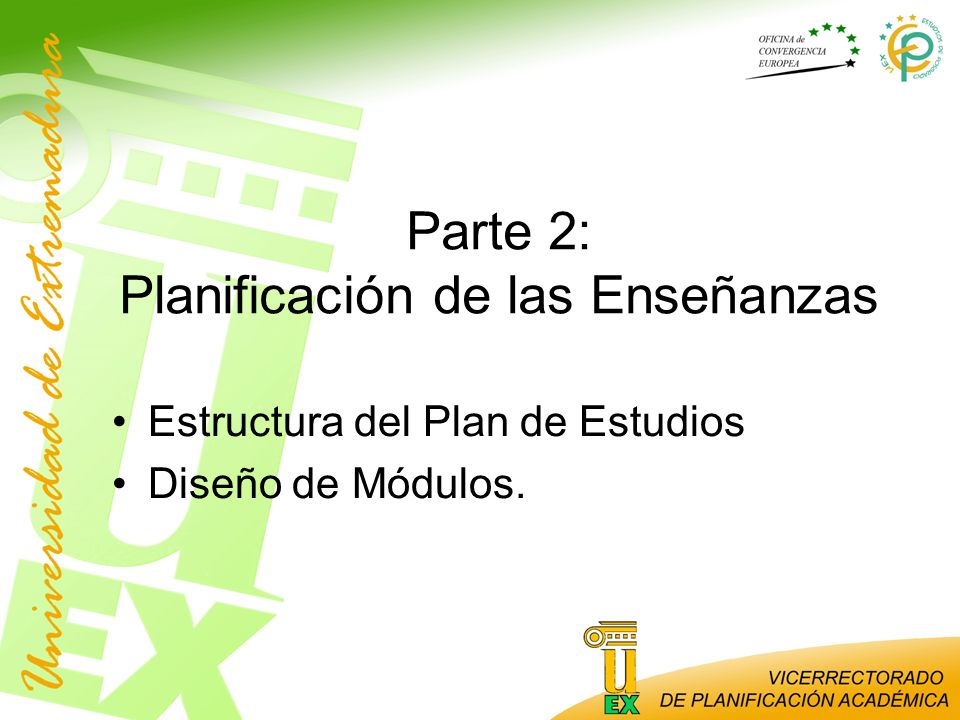 Parte 2: Planificación de las Enseñanzas Estructura del Plan de Estudios Diseño de Módulos.