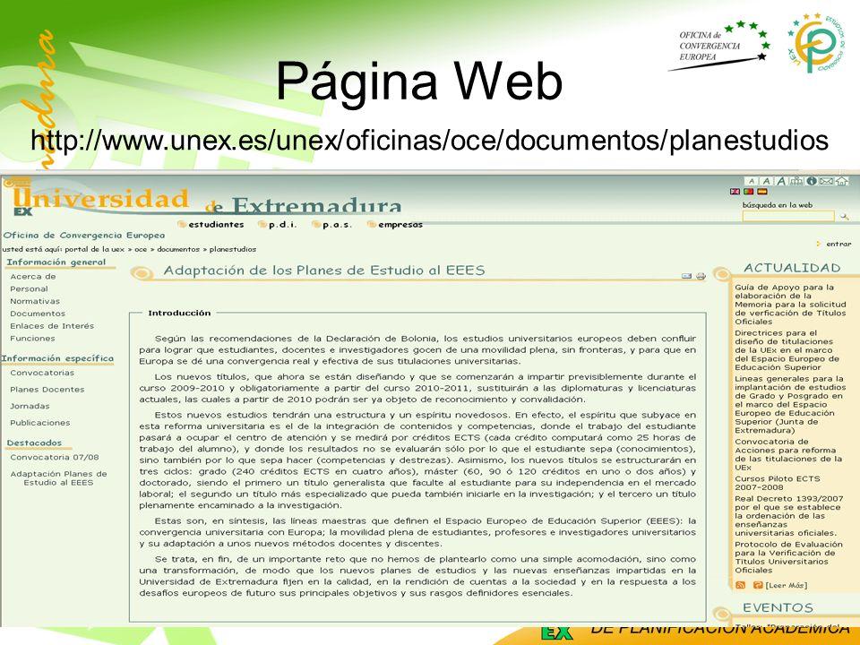 Página Web http://www.unex.es/unex/oficinas/oce/documentos/planestudios