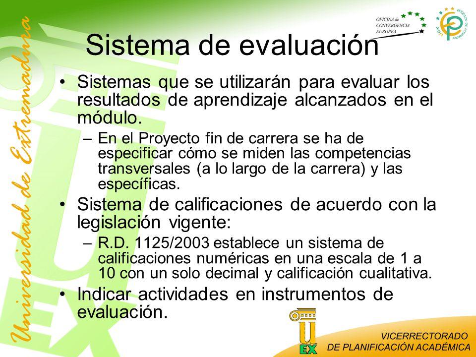 Sistema de evaluación Sistemas que se utilizarán para evaluar los resultados de aprendizaje alcanzados en el módulo. –En el Proyecto fin de carrera se