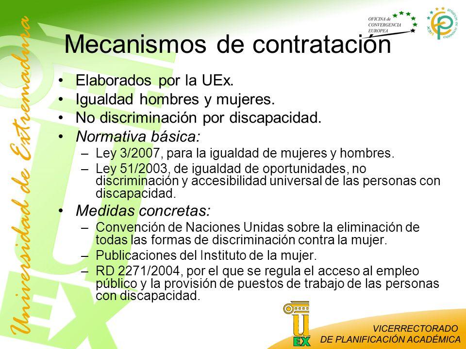 Mecanismos de contratación Elaborados por la UEx. Igualdad hombres y mujeres. No discriminación por discapacidad. Normativa básica: –Ley 3/2007, para
