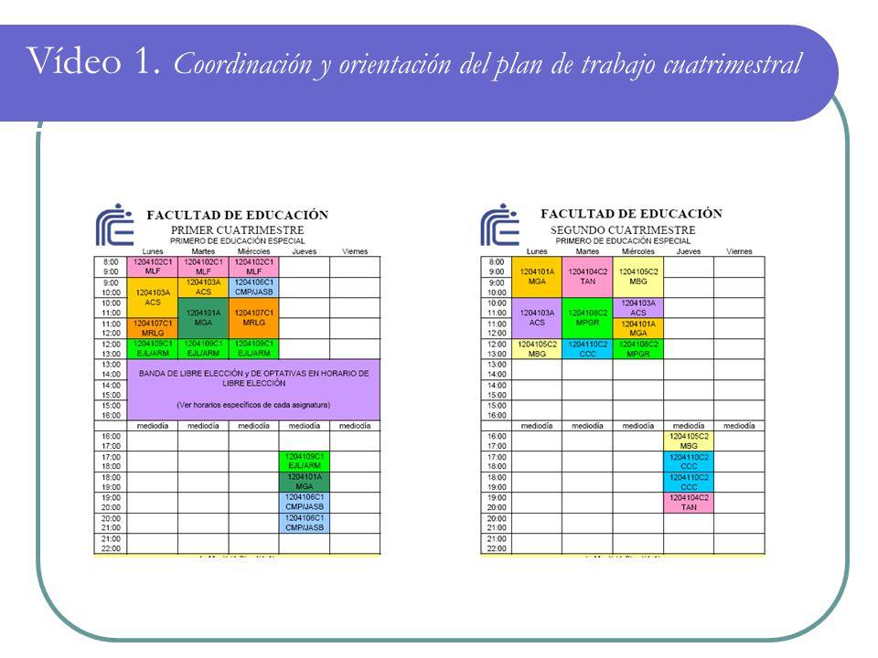Vídeo 1. Coordinación y orientación del plan de trabajo cuatrimestral