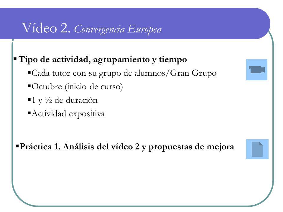 Vídeo 2. Convergencia Europea Tipo de actividad, agrupamiento y tiempo Cada tutor con su grupo de alumnos/Gran Grupo Octubre (inicio de curso) 1 y ½ d
