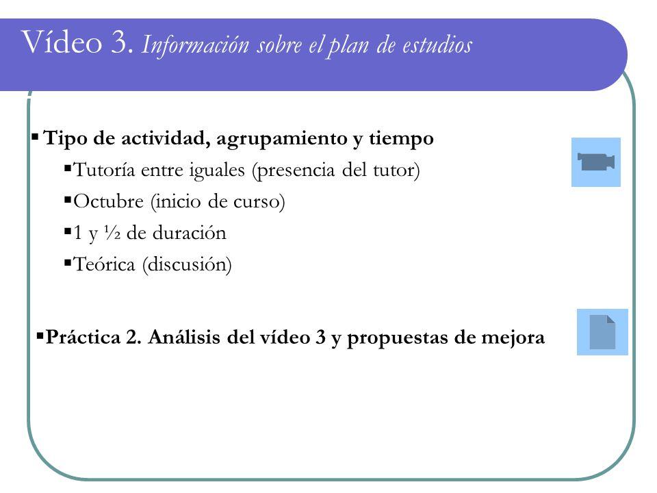 Vídeo 3. Información sobre el plan de estudios Tipo de actividad, agrupamiento y tiempo Tutoría entre iguales (presencia del tutor) Octubre (inicio de