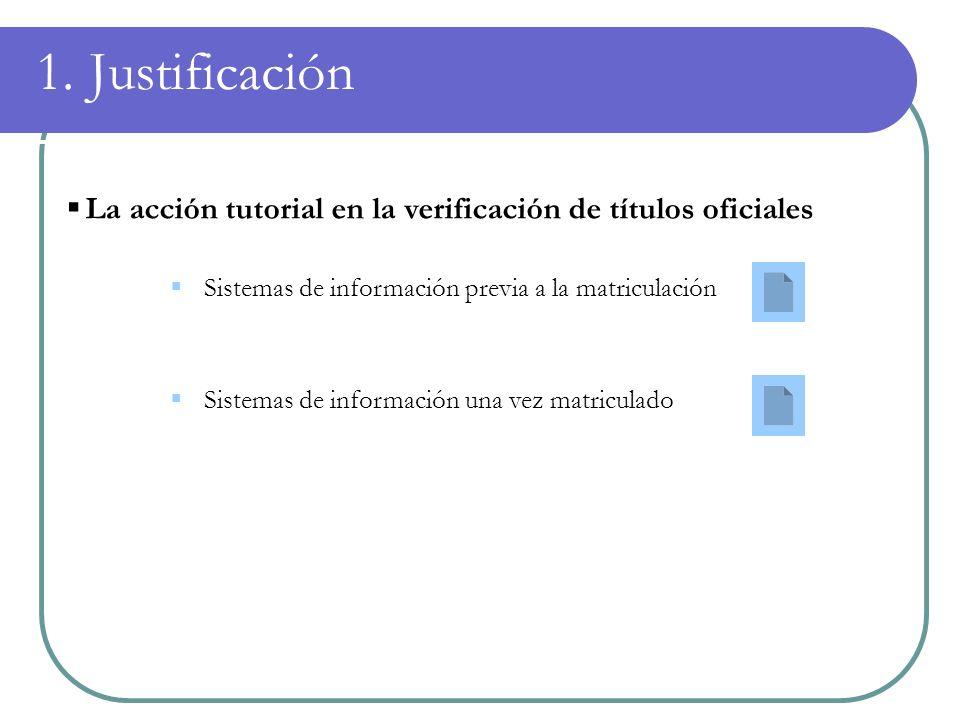 1. Justificación La acción tutorial en la verificación de títulos oficiales Sistemas de información previa a la matriculación Sistemas de información