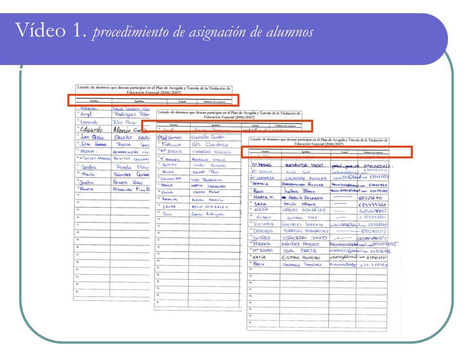 Vídeo 1. procedimiento de asignación de alumnos