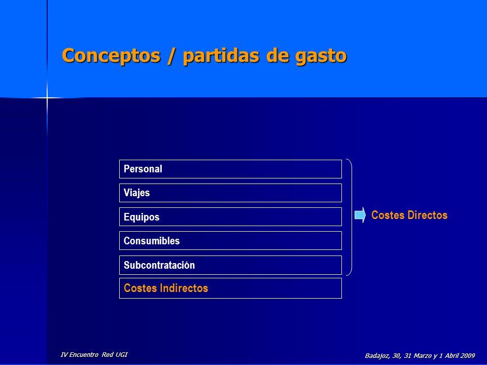 IV Encuentro Red UGI Badajoz, 30, 31 Marzo y 1 Abril 2009 Conceptos / partidas de gasto Personal Viajes Equipos Consumibles Subcontratación Costes Ind