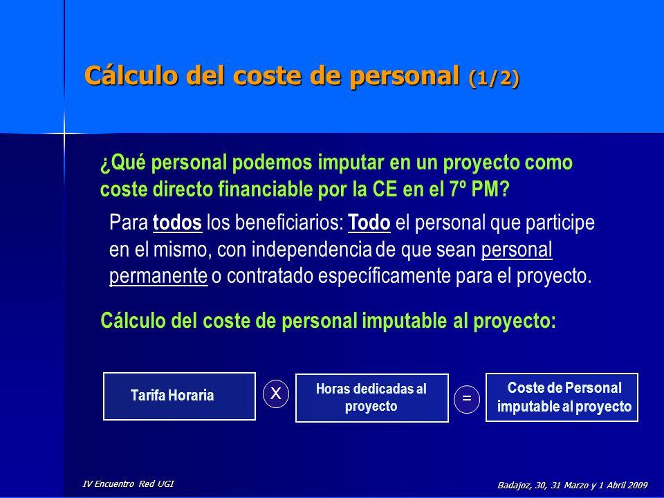 IV Encuentro Red UGI Badajoz, 30, 31 Marzo y 1 Abril 2009 Cálculo del coste de personal (1/2) Tarifa Horaria Horas dedicadas al proyecto X = Coste de