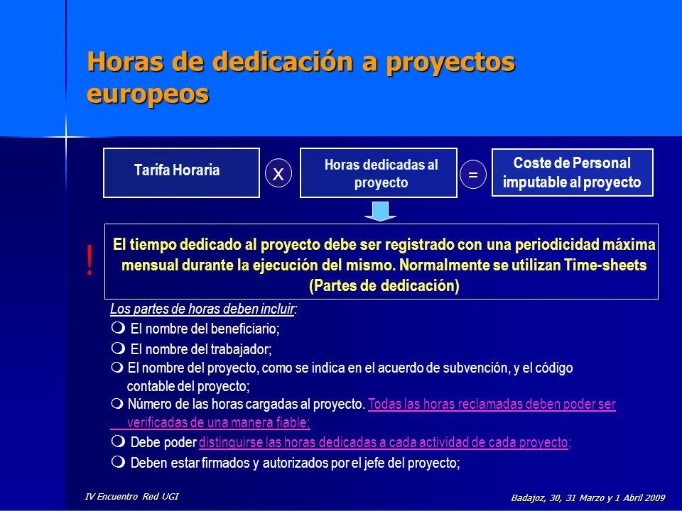 IV Encuentro Red UGI Badajoz, 30, 31 Marzo y 1 Abril 2009 Horas de dedicación a proyectos europeos Tarifa Horaria Horas dedicadas al proyecto X = Cost