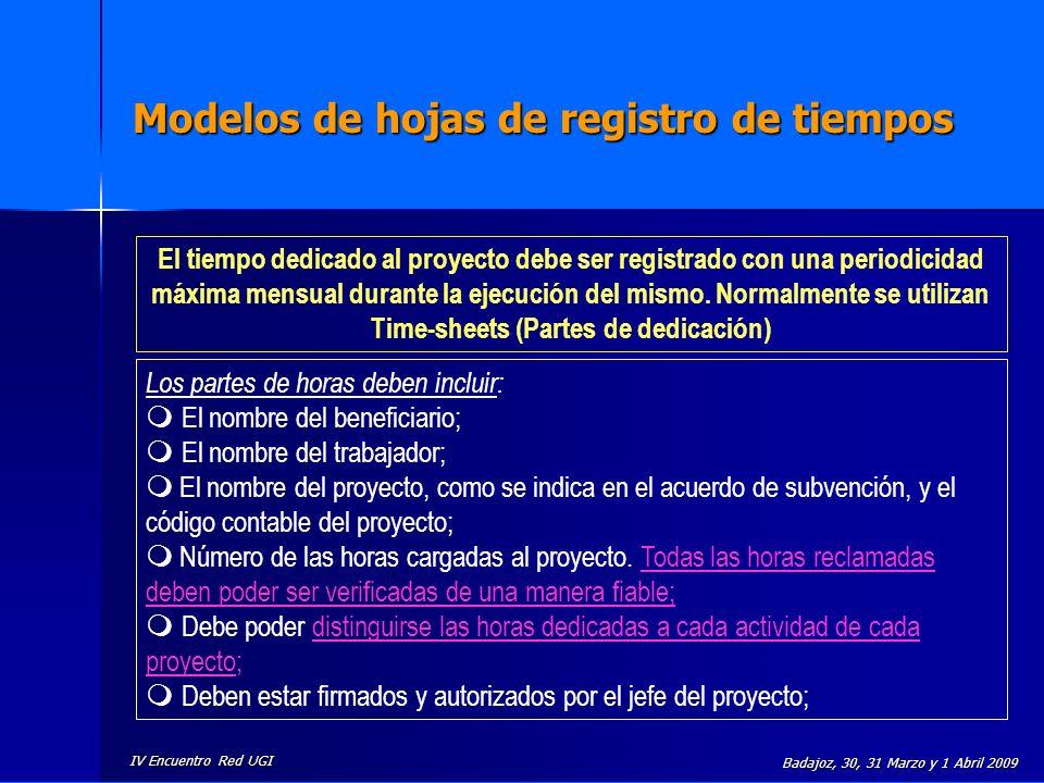 IV Encuentro Red UGI Badajoz, 30, 31 Marzo y 1 Abril 2009 Modelos de hojas de registro de tiempos El tiempo dedicado al proyecto debe ser registrado c