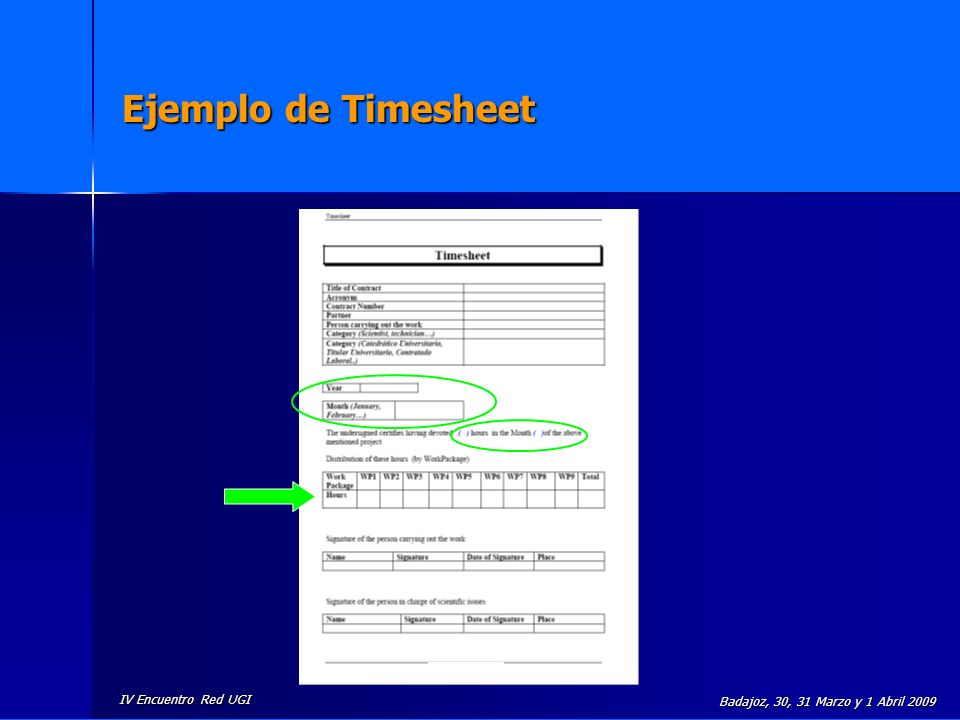 IV Encuentro Red UGI Badajoz, 30, 31 Marzo y 1 Abril 2009 Ejemplo de Timesheet