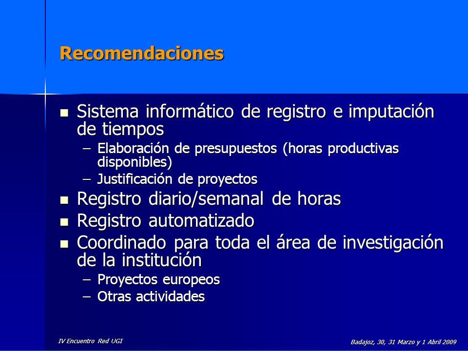 IV Encuentro Red UGI Badajoz, 30, 31 Marzo y 1 Abril 2009 Recomendaciones Sistema informático de registro e imputación de tiempos Sistema informático