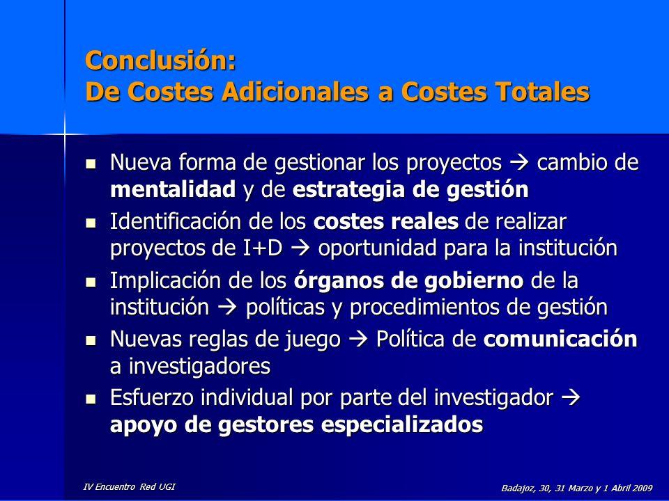 IV Encuentro Red UGI Badajoz, 30, 31 Marzo y 1 Abril 2009 Conclusión: De Costes Adicionales a Costes Totales Nueva forma de gestionar los proyectos ca
