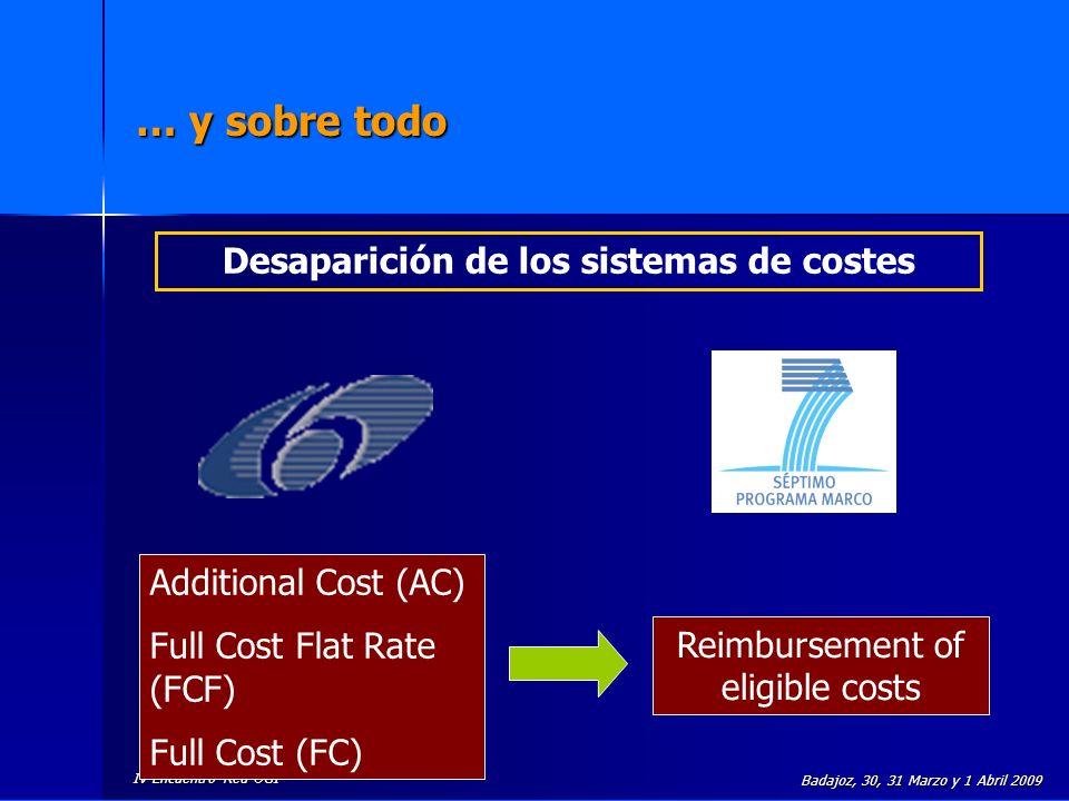 IV Encuentro Red UGI Badajoz, 30, 31 Marzo y 1 Abril 2009 Principios esenciales que rigen el 7PM Principio de cofinanciación Principio de no beneficio El coste del proyecto es asumido de manera conjunta por el beneficiario y por la CE.