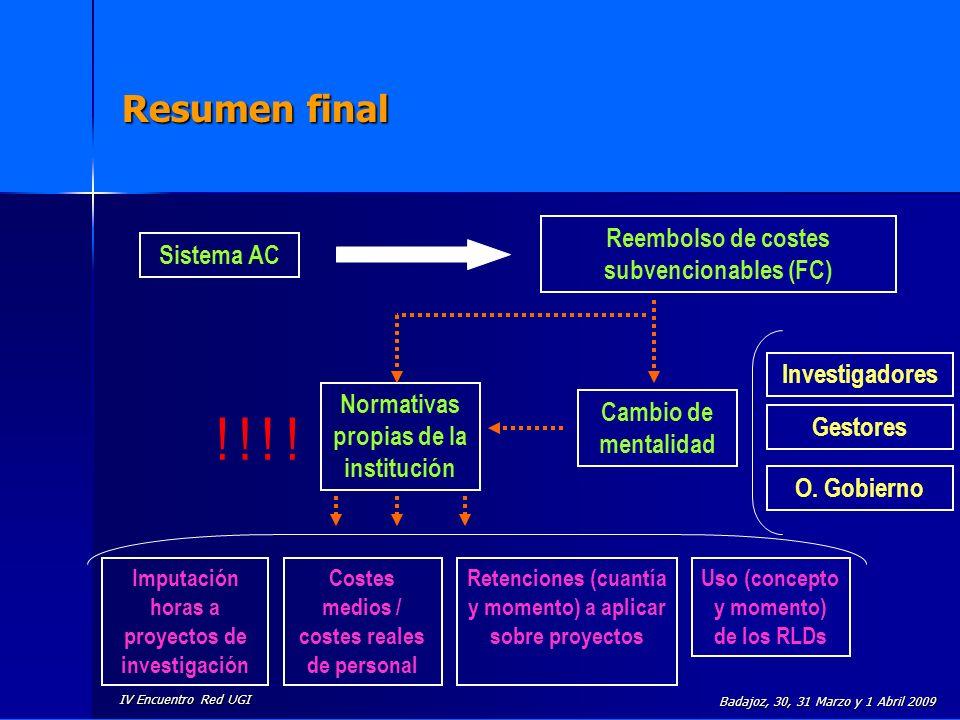 IV Encuentro Red UGI Badajoz, 30, 31 Marzo y 1 Abril 2009 Resumen final Sistema AC Reembolso de costes subvencionables (FC) Cambio de mentalidad Imput