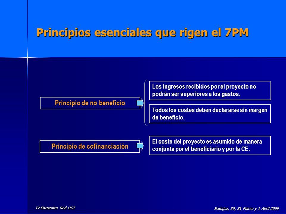 IV Encuentro Red UGI Badajoz, 30, 31 Marzo y 1 Abril 2009 Principios esenciales que rigen el 7PM Principio de cofinanciación Principio de no beneficio