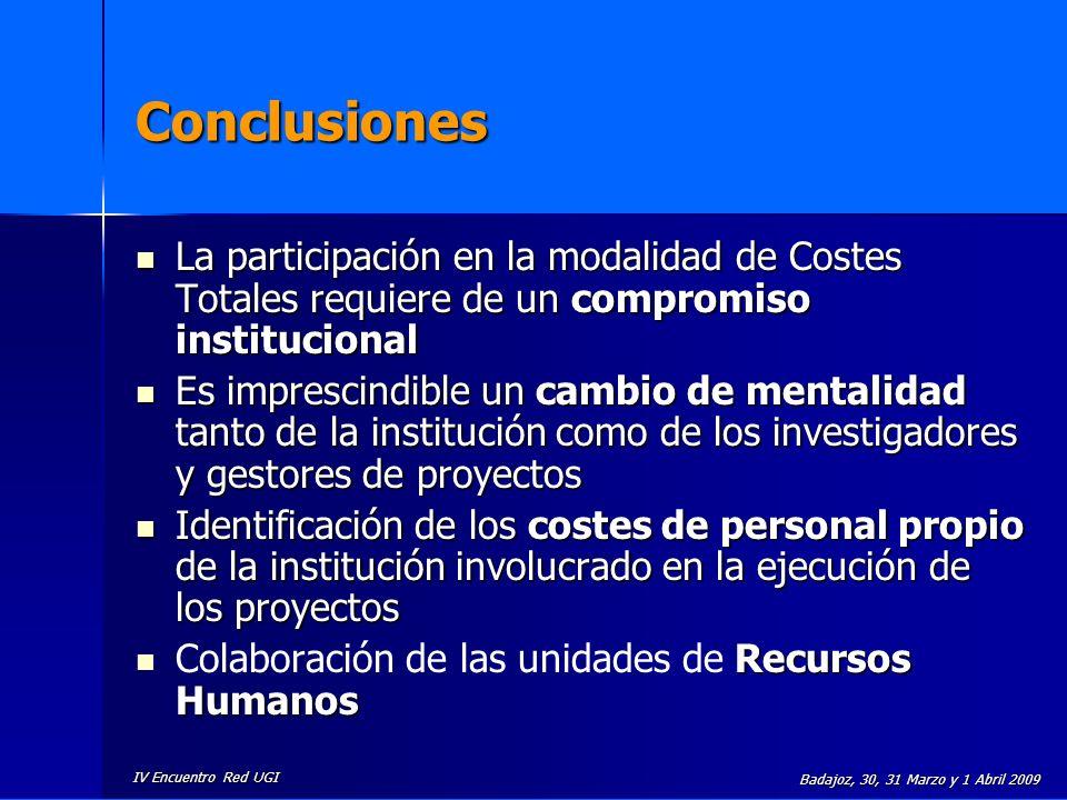 IV Encuentro Red UGI Badajoz, 30, 31 Marzo y 1 Abril 2009 Conclusiones La participación en la modalidad de Costes Totales requiere de un compromiso in