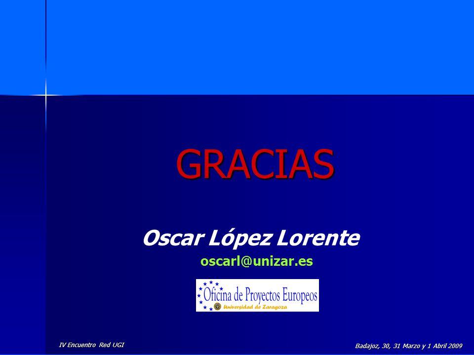 IV Encuentro Red UGI Badajoz, 30, 31 Marzo y 1 Abril 2009 GRACIAS Oscar López Lorente oscarl@unizar.es
