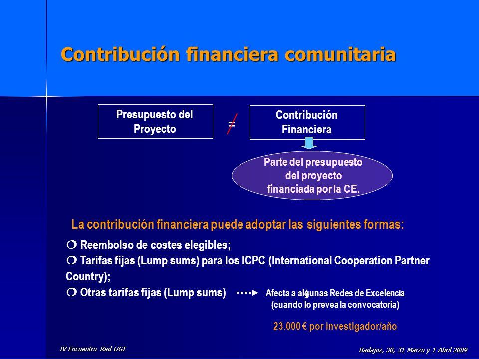 IV Encuentro Red UGI Badajoz, 30, 31 Marzo y 1 Abril 2009 Contribución financiera comunitaria Presupuesto del Proyecto Contribución Financiera = Parte