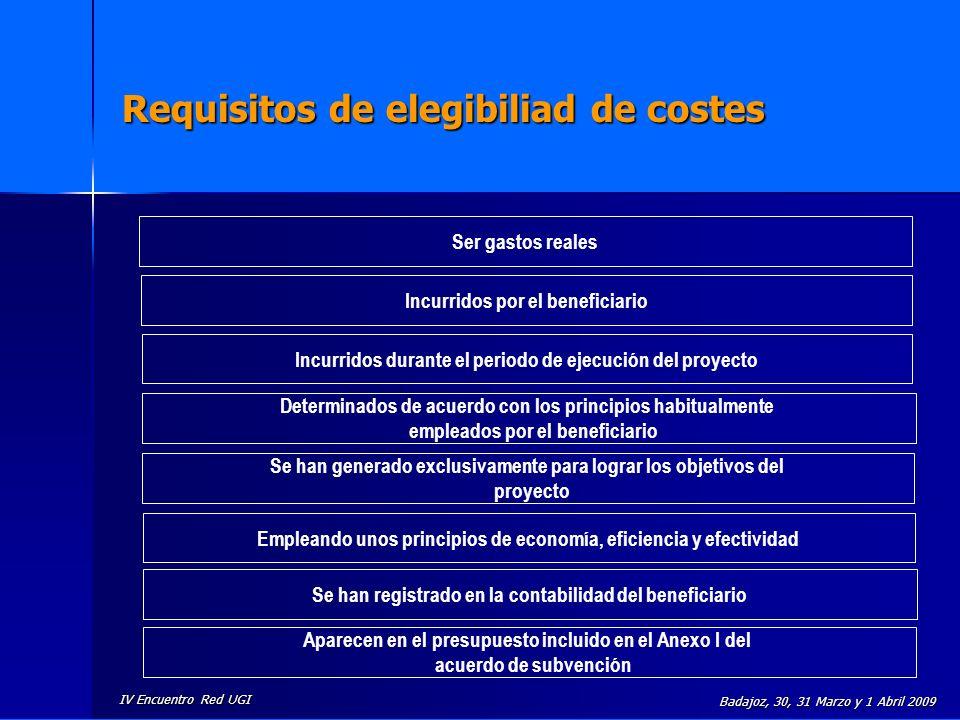 IV Encuentro Red UGI Badajoz, 30, 31 Marzo y 1 Abril 2009 Requisitos de elegibiliad de costes Ser gastos reales Incurridos por el beneficiario Incurri