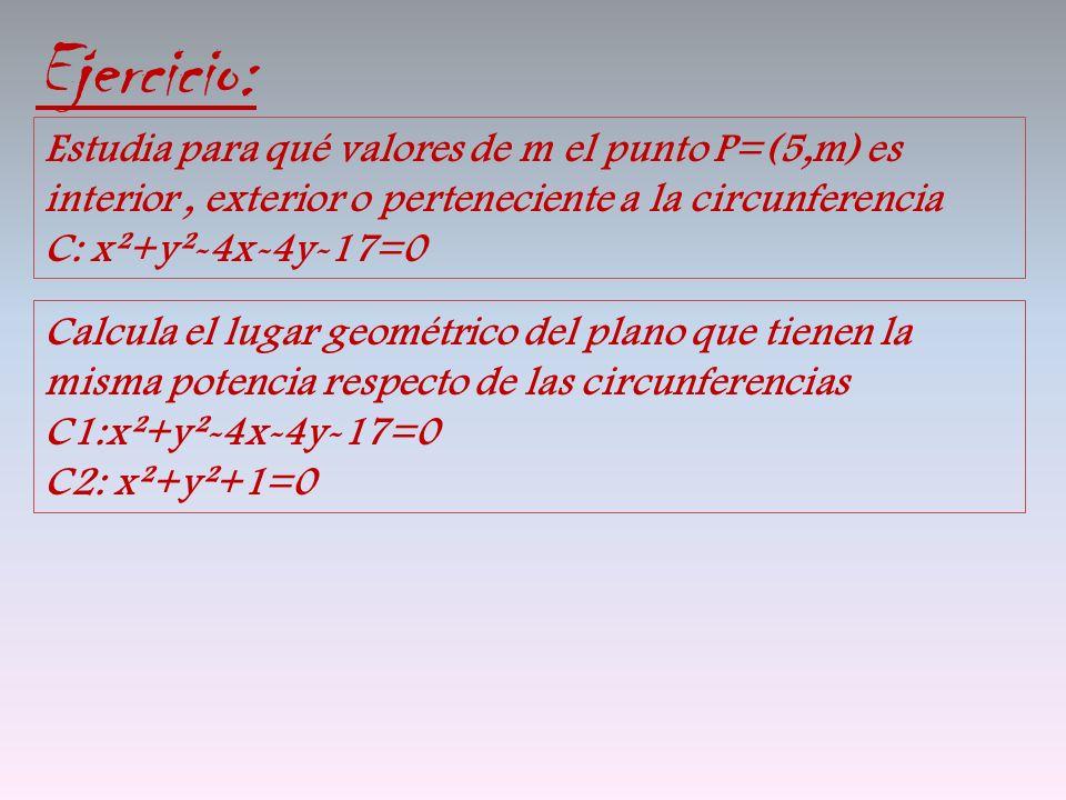 Ejercicio: Estudia para qué valores de m el punto P=(5,m) es interior, exterior o perteneciente a la circunferencia C: x²+y²-4x-4y-17=0 Calcula el lug