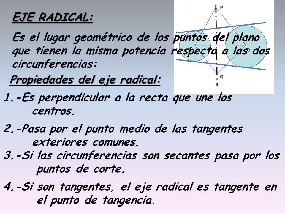 EJE RADICAL: Es el lugar geométrico de los puntos del plano que tienen la misma potencia respecto a las dos circunferencias: Propiedades del eje radic