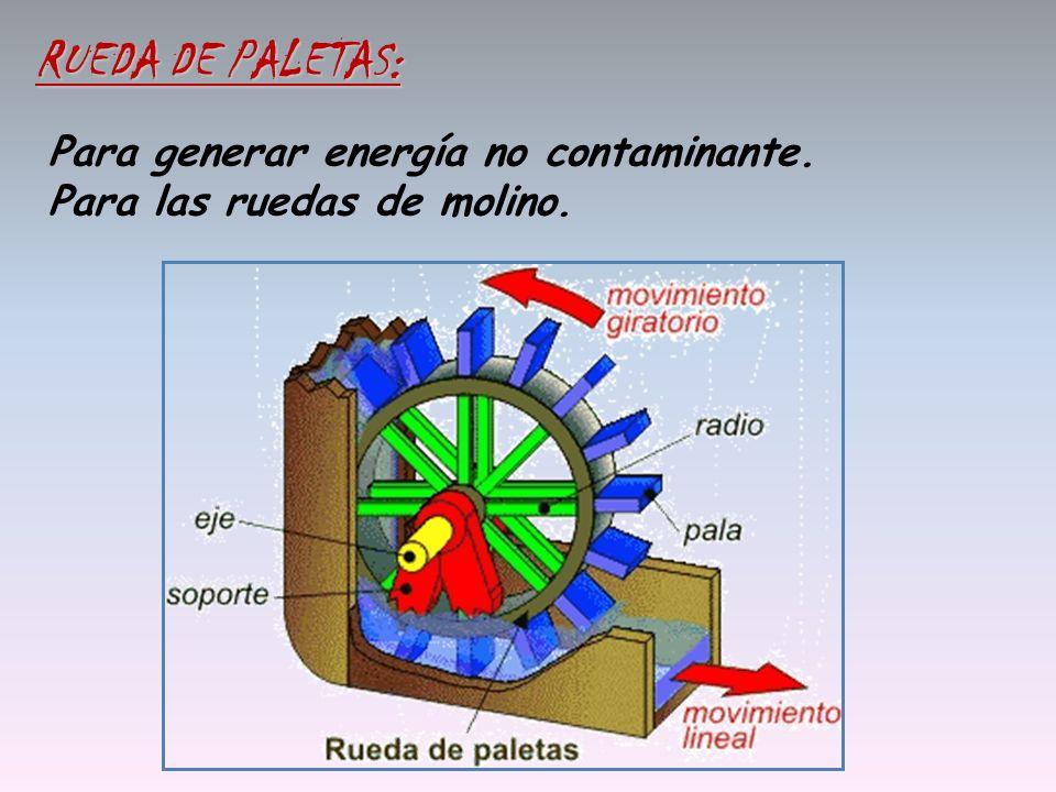 Para generar energía no contaminante. Para las ruedas de molino. RUEDA DE PALETAS: