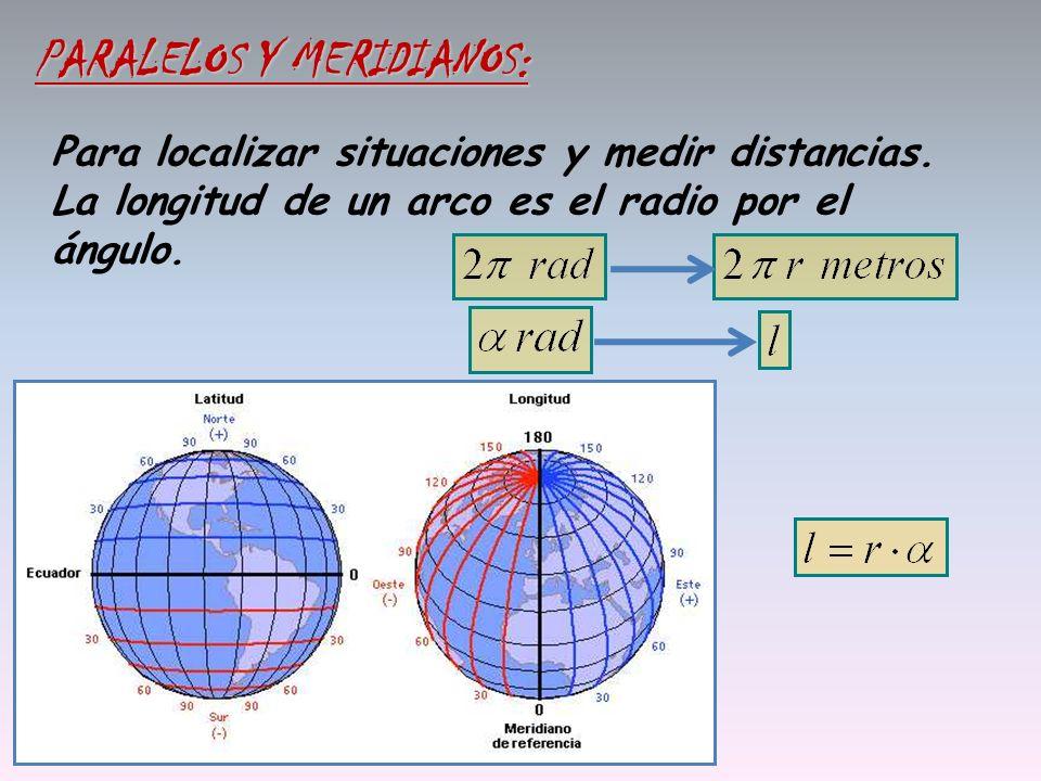 Para localizar situaciones y medir distancias. La longitud de un arco es el radio por el ángulo. PARALELOS Y MERIDIANOS: